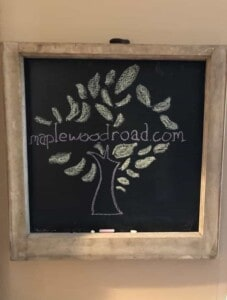 Rustic chalkboard with maplewoodroad.com logo