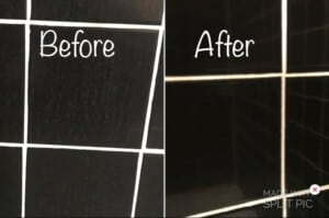 Homemade shower cleaner - before & after shower tiles