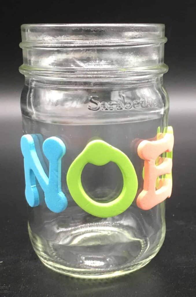 Letters on jar