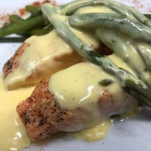 Finished salmon, asparagus, & Hollandaise sauce