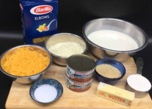 Crab mac & cheese ingredients