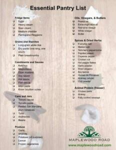 Printable Essential Pantry List