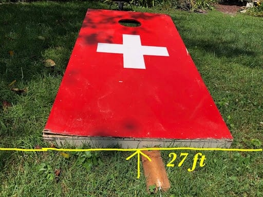 Cornhole - And place the front of the second board where it ends (Photo by Erich Boenzli)