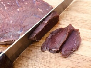 Homemade Beef Jerky - 1/4-inch slices against the grain (Photo by Erich Boenzli)
