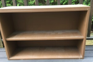 """Bookcase makeover - The """"before"""" picture...Wow, when's the last time I dusted behind the books?! (Photo by Viana Boenzli)"""