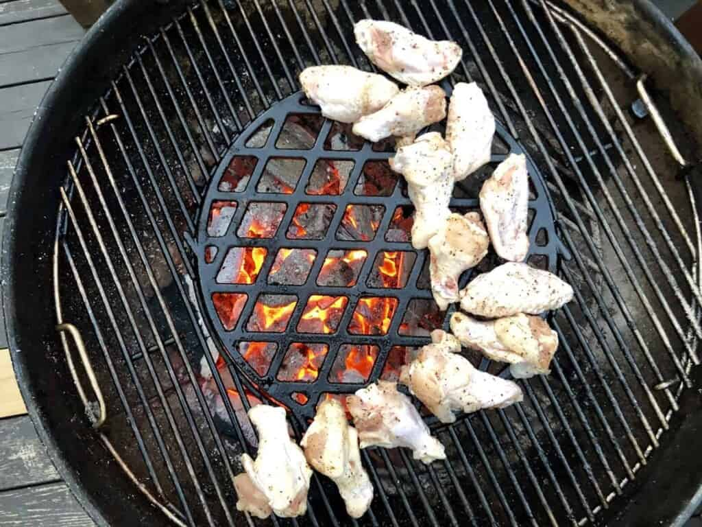 Charcoal Grilled Chicken Wings - Render the fat with indirect heat (Photo by Erich Boenzli)