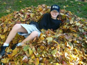 Leave the leaves Thanksgiving - Everyone loves a leaf pile! (Photo by Erich Boenzli)