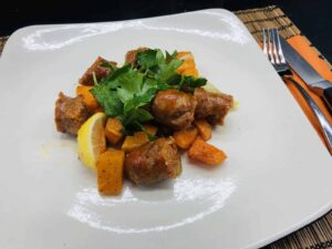 Butternut Squash and Sausage - A scrumptious, autumnal pantry dish (Photo by Erich Boenzli)