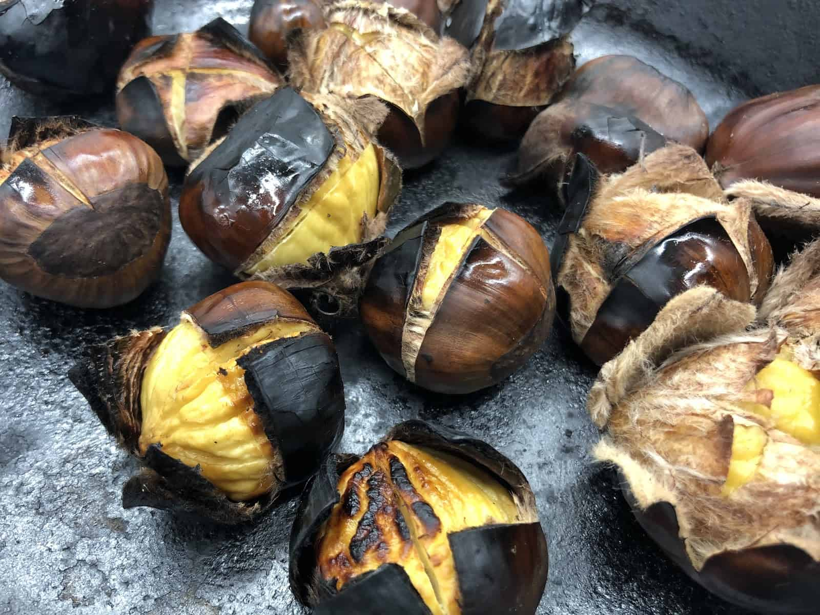Chestnuts Roasting on an Open Fire - They're done and smell absolutely delicious (Photo by Erich Boenzli)
