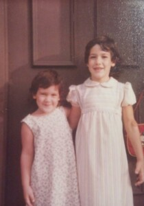 About Viana - My sister (L) and myself (R), wearing dresses lovingly made by our mom