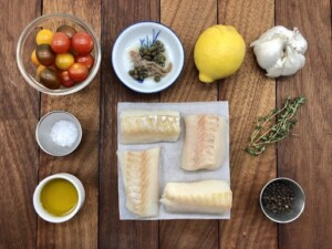 Oven Baked Cod - Classic ingredients plus anchovies and capers (Photo by Erich Boenzli)