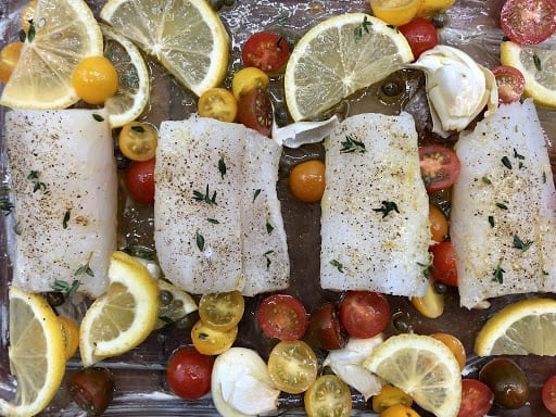 Oven Baked Cod - It's ready to go in the oven at 400℉ for about 15 minutes (Photo by Erich Boenzli)