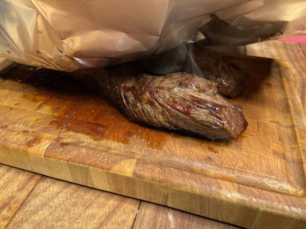 Sheet Pan Dinner - Just taking a peek at the resting meat... (Photo by Erich Boenzli)