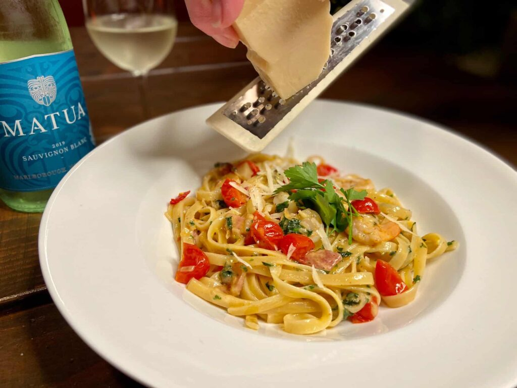 Fettuccine Alfredo - Why not add some more Parmigiano Reggiano (Photo by Erich Boenzli)