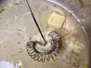 Moules marinière - Making the sauce (Photo by Erich Boenzli)