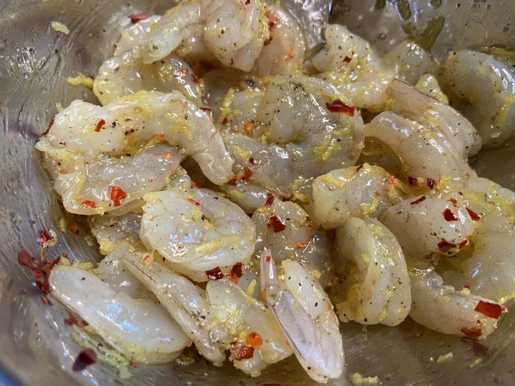 Shrimp Scampi - Marinating the shrimp (Photo by Erich Boenzli)