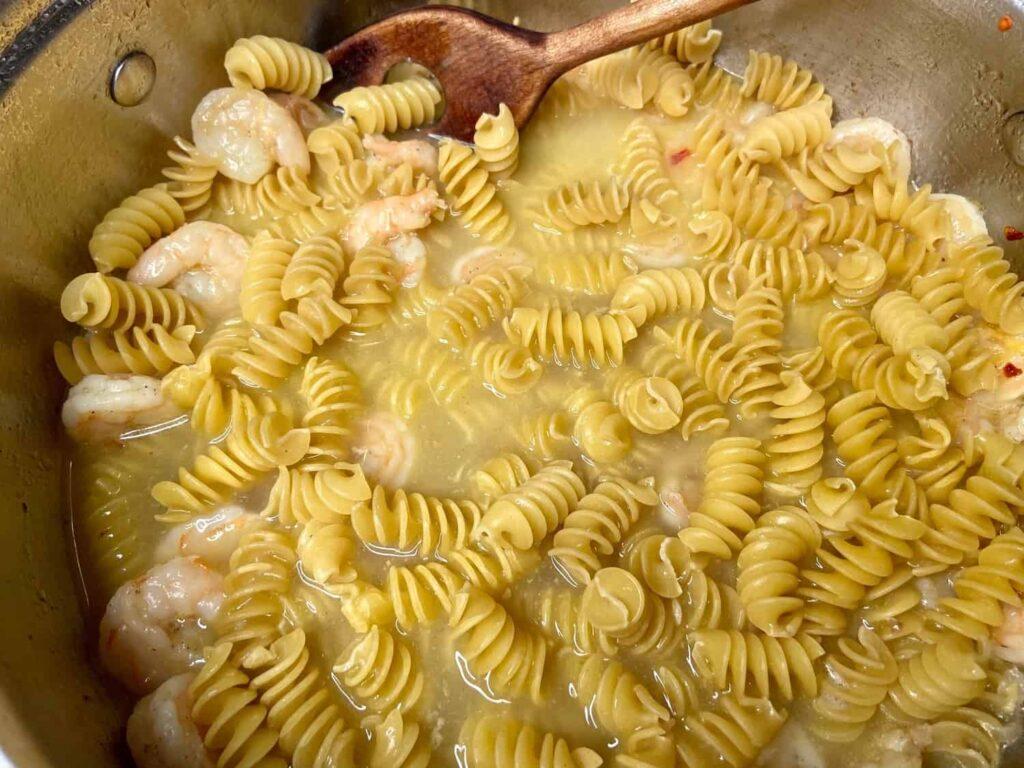 Shrimp Scampi - Add your favorite pasta, stir, taste, stir, taste (Photo by Erich Boenzli)