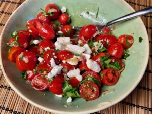 Tomato Salad - Optional: add some crumbled feta cheese (Photo by Erich Boenzli)
