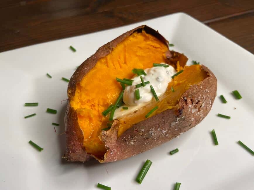 Recipe for a baked potato - Works perfect with a sweet potato as well (Photo by Erich Boenzli)