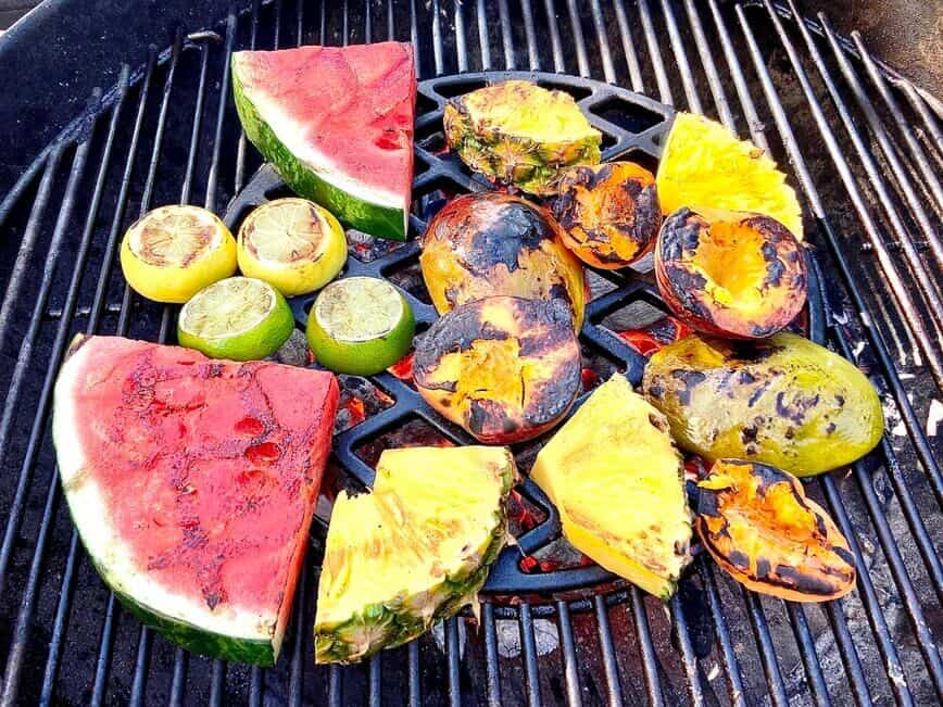 Grilling Fruits - Flip after about three minutes, grill another three minutes (Photo by Erich Boenzli)