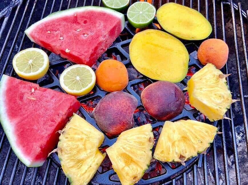 Grilling Fruits - Place fruits directly over hot coals (Photo by Erich Boenzli)