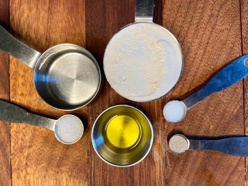 Cast Iron Pizza - Dough ingredients (Photo by Erich Boenzli)