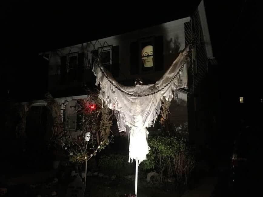 Big Guy Halloween decoration - The Big Guy lit up at night (Photo by Viana Boenzli)