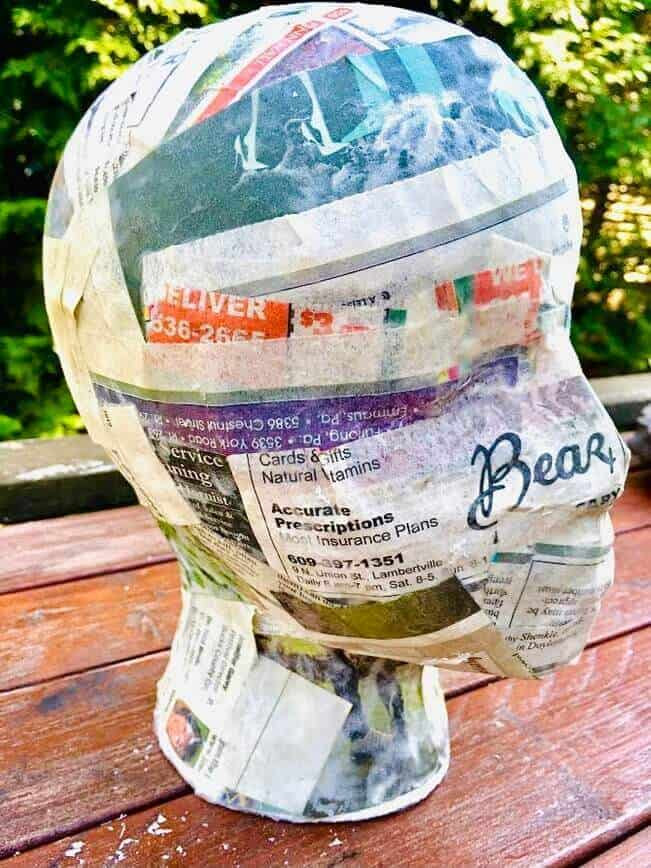 How to make a paper mache mask - But DON'T apply all the way around (Photo by Viana Boenzli)