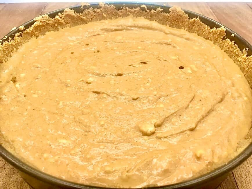 Pumpkin Cheesecake Recipe - Ready to go in the oven! (Photo by Viana Boenzli)