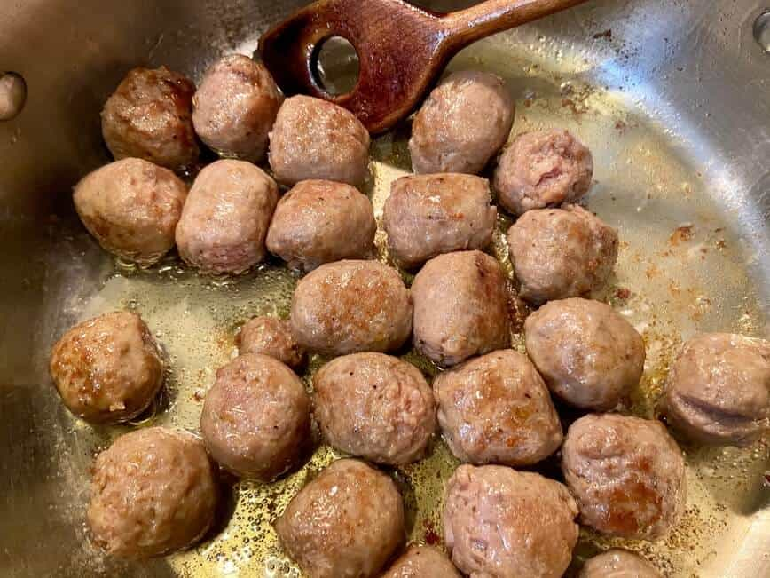 One-pot Sausage Meatballs with Pasta (Photo by Erich Boenzli)