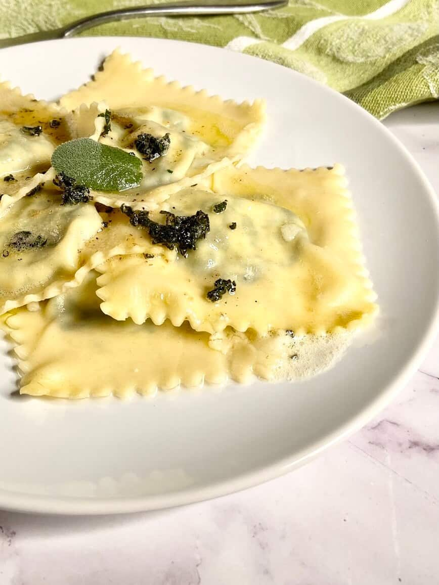 Homemade Spinach Ricotta Ravioli with Butter Sage Sauce (Photo by Erich Boenzli)