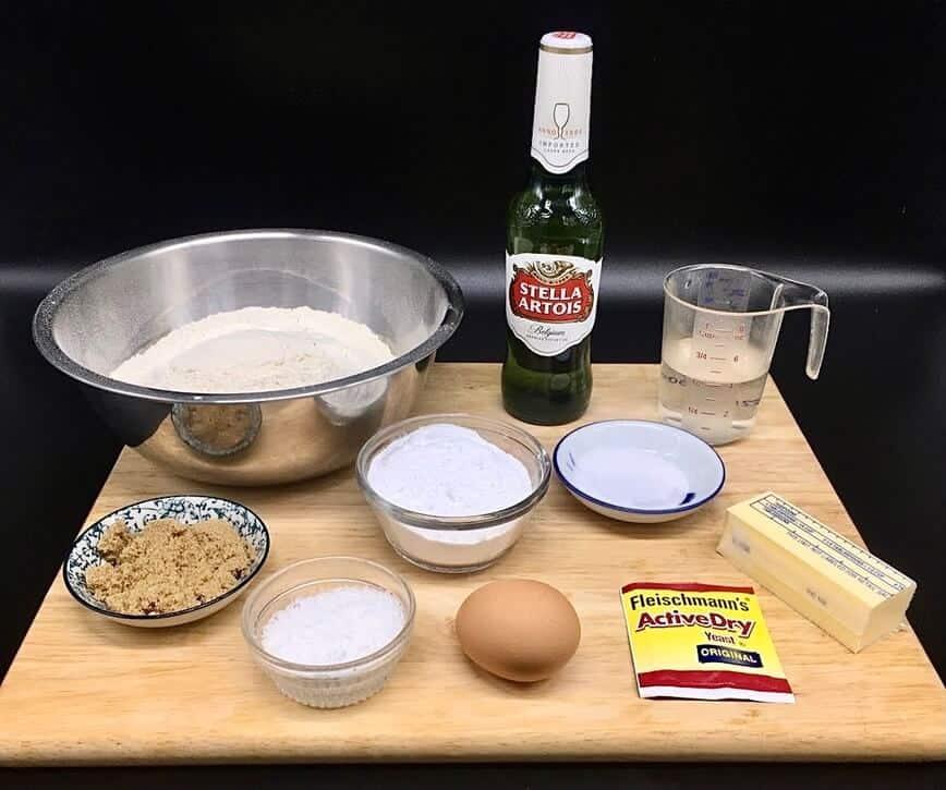 Beer Soft Pretzels Stuffed with Spinach Artichoke Dip - Pretzel Ingredients (Photo by Erich Boenzli)