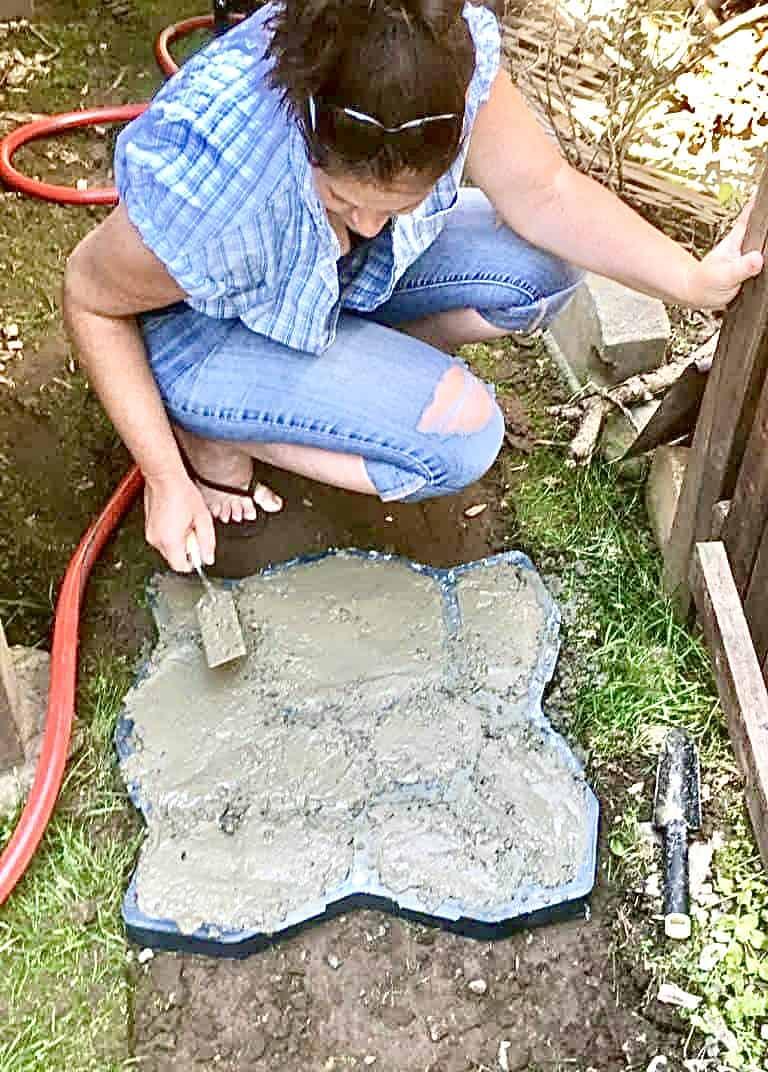 Faux Stone Path - Molding concrete (Photo by Erich Boenzli)
