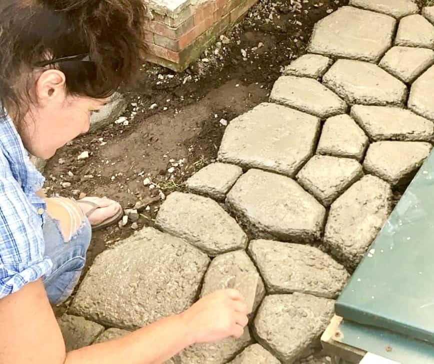 Faux Stone Path - Smoothing concrete (Photo by Erich Boenzli)