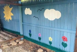 Painted Fence - Our painted woodshed (Photo by Viana Boenzli)