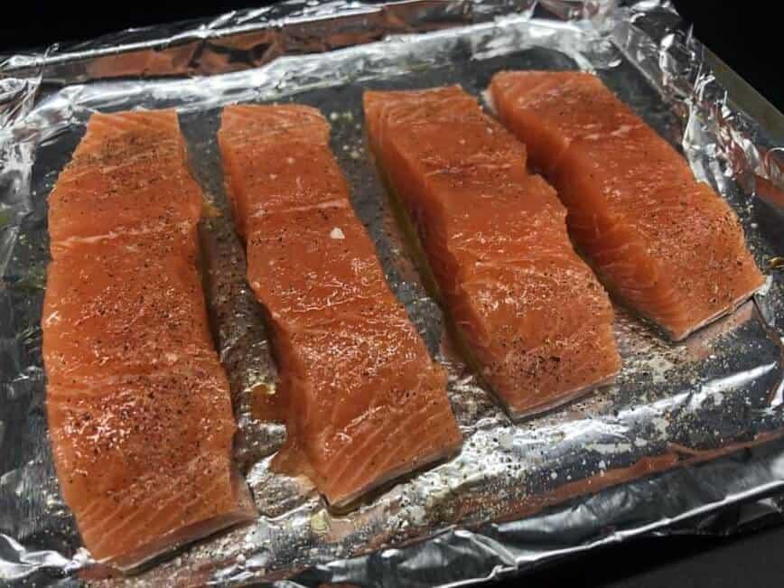 Salmon on baking sheet (Photo by Erich Boenzli)