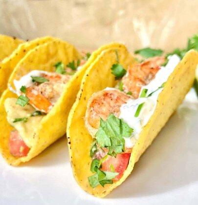 Shrimp Tacos with Avocado, Grapefruit, and Creamy Cilantro Sauce