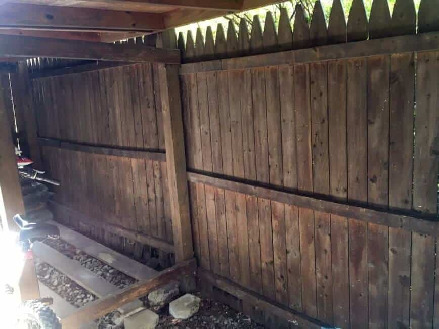 """Painted Fence - Woodshed """"before"""" picture (Photo by Viana Boenzli)"""