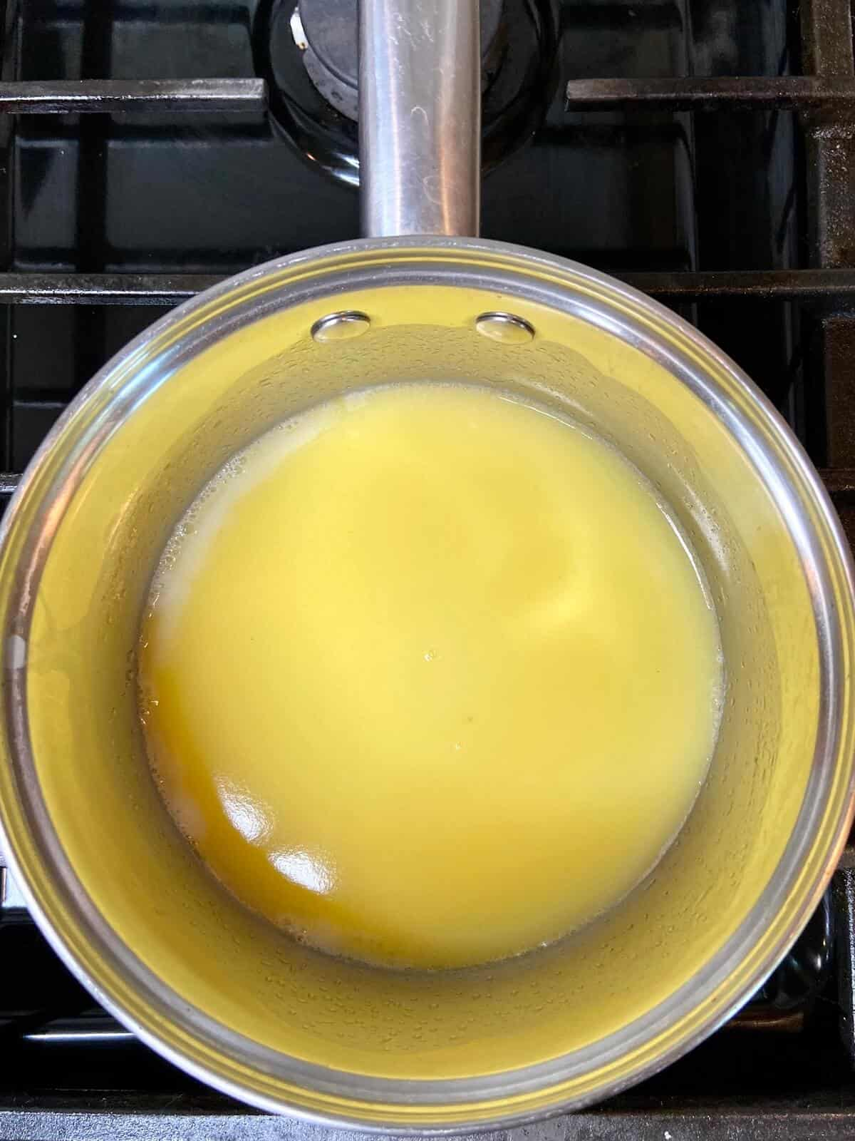 Gougeres Gruyere - Boil milk, water, and salt (Photo by Erich Boenzli)