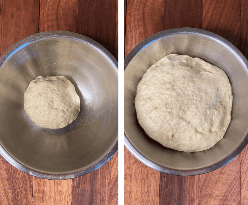 Naan Bread Recipe - Naan dough before and after rising (Photo by Viana Boenzli)