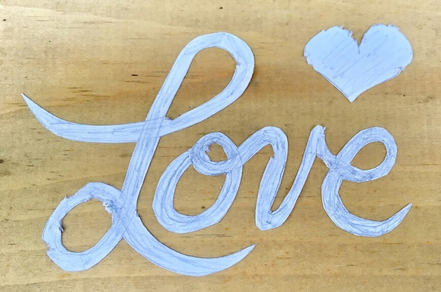 Wood Sign - Drawing and cutting out my design (Photo by Viana Boenzli)